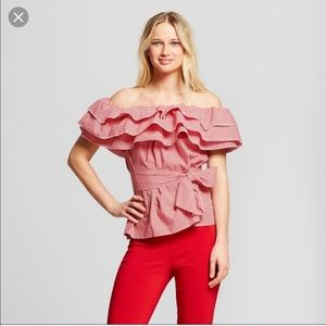 Who what wear Cherry Gingham Bardot Top